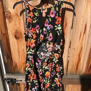 Frenchi Sundress, size L, black floral, open back